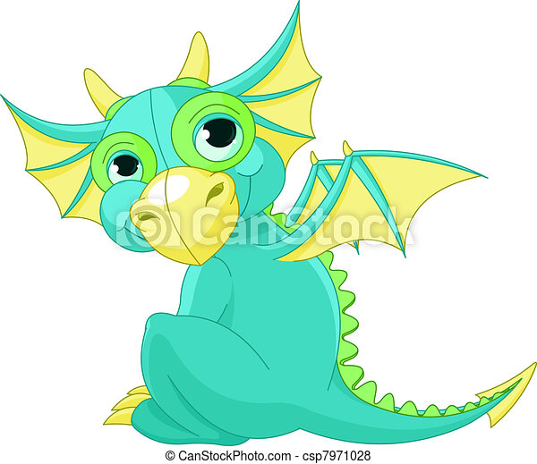 Cartoon baby dragon - csp7971028