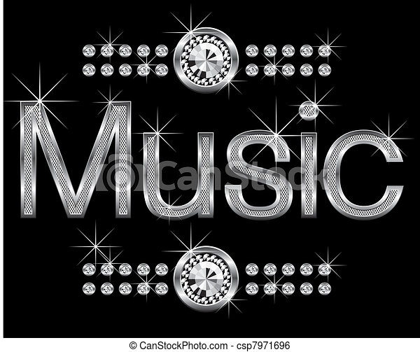 thin metal diamond word music - csp7971696