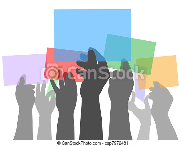 Many people hands holding color spaces - csp7972481