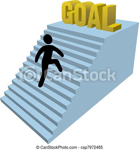 Stick figure person climb steps  - csp7972485