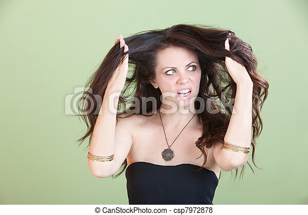 Woman Unhappy With Bad Hair - csp7972878