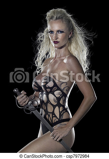 blond seminude Amazon with sword - csp7972984