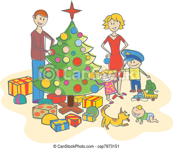 Vector Clip Art of happy family dressing up the christmas ...