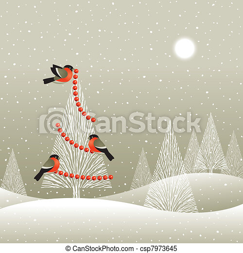 Christmas tree in winter forest - csp7973645