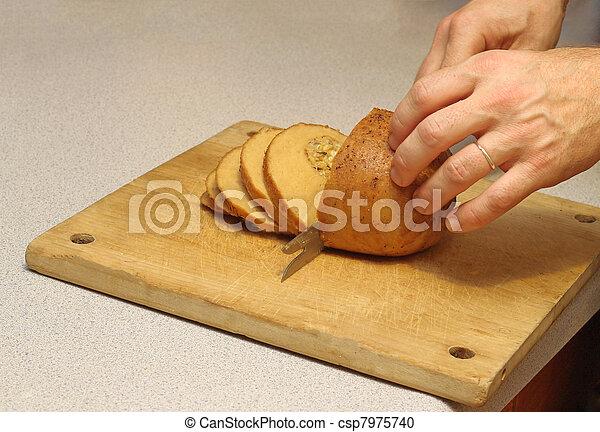 Carving the vegan turkey - csp7975740