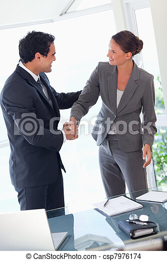 Business partner shaking hands after closing a deal - csp7976174