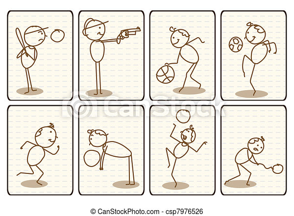 Outlined Doodle Cartoon sports - csp7976526
