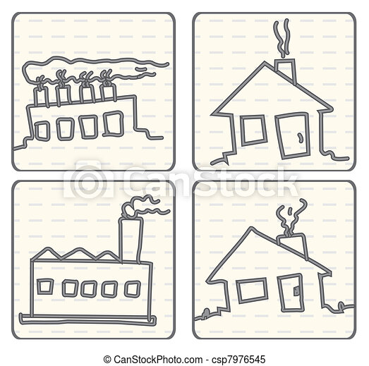 Outlined Doodle Cartoon vector air  - csp7976545