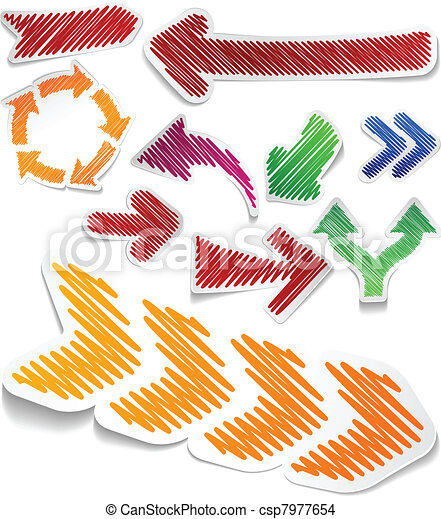 Scribbled color arrows set. - csp7977654