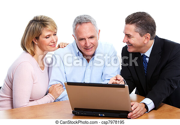 Senior couple with financial adviser. - csp7978195