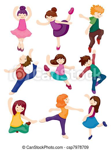 矢量-卡通漫画, 舞蹈演员, 放置图片