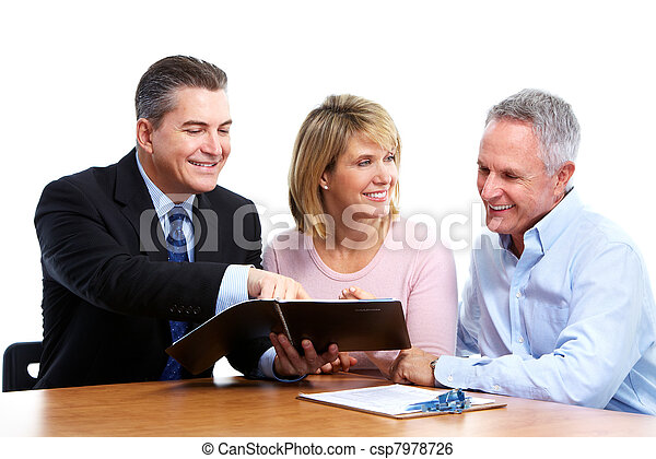 Senior couple with financial adviser. - csp7978726
