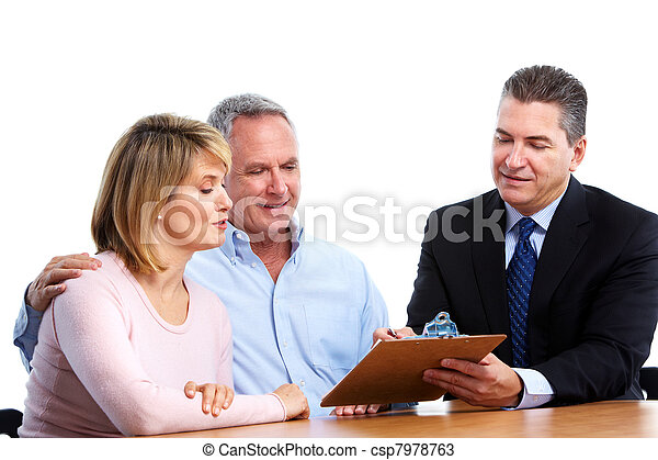 Senior couple with financial adviser. - csp7978763