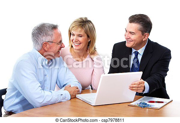 Senior couple with financial adviser. - csp7978811