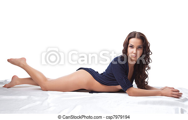 Beauty naked woman lay on white in knitted jacket - csp7979194