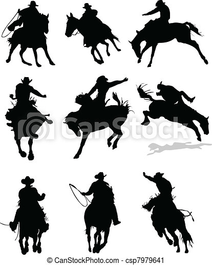 Horse rodeo silhouettes. Vector il - csp7979641