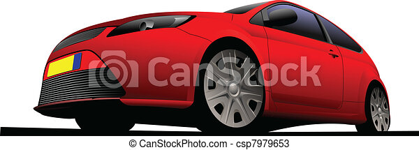 red car-coupe on the road. Vector  - csp7979653