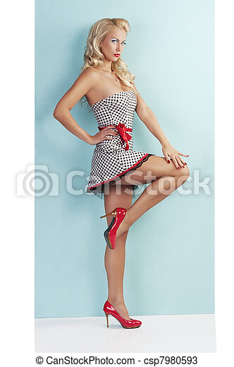 sensual full body pin up with a red belt - csp7980593