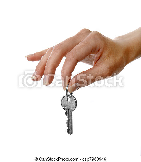 Womans hand holding a key - csp7980946