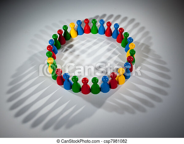 group of multi-colored people to represent social network, diversity, multi cultural society, team work togetherness - csp7981082
