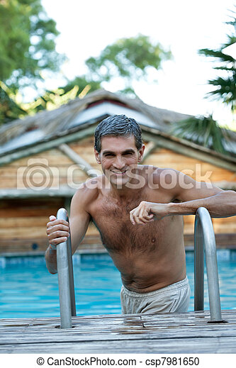 Smiling Middle Aged Man Standing in Pool - csp7981650
