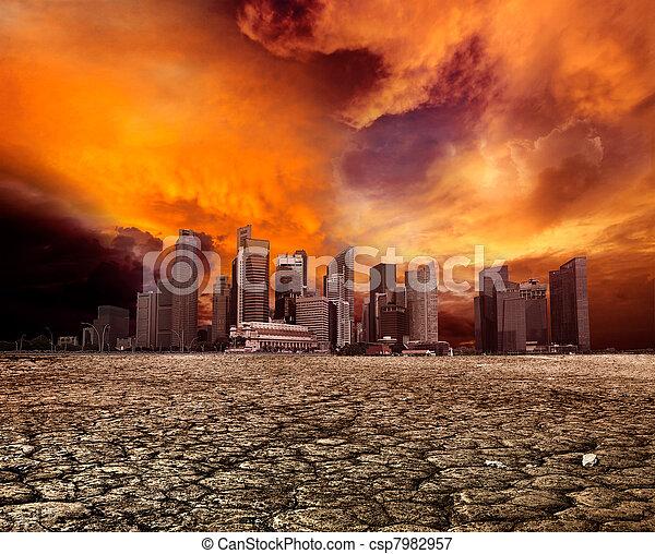 City overlooking desolate landscape - csp7982957