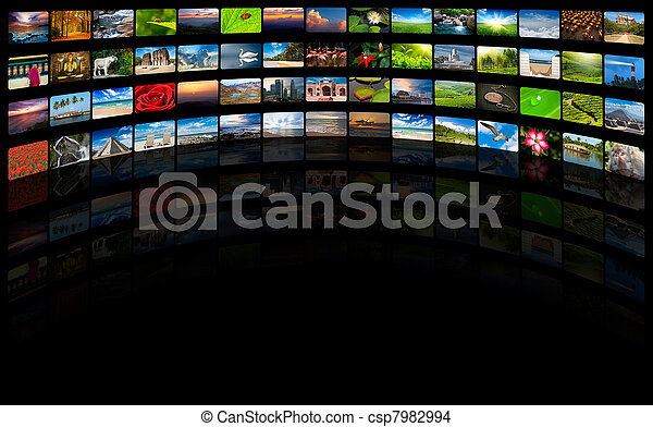 Abstract multimedia background composed of many images with copy - csp7982994