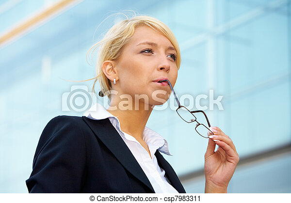 Young Businesswoman Pondering - csp7983311