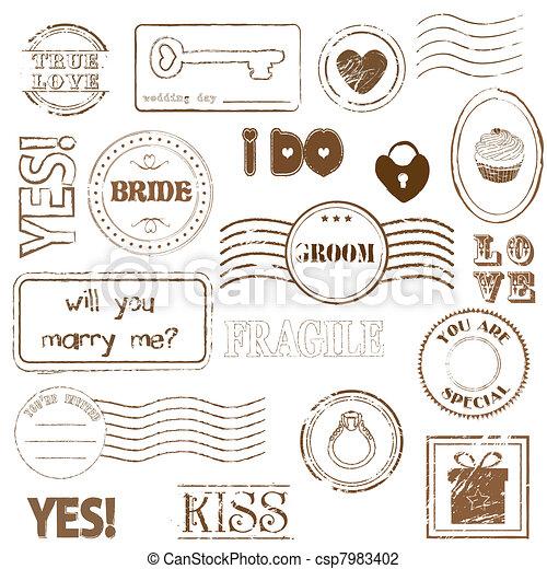 Set Of Wedding Postage Stamps - csp7983402