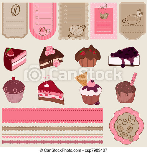 Dessert and Sweets design element Set - for scrapbook - csp7983407