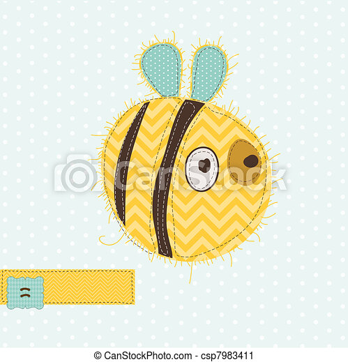 Greeting card with Bee - for scrapbook, invitation, celebration with place for your text - csp7983411