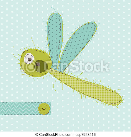 Greeting card with Dragonfy - for scrapbook, invitation, celebration with place for your text - csp7983416