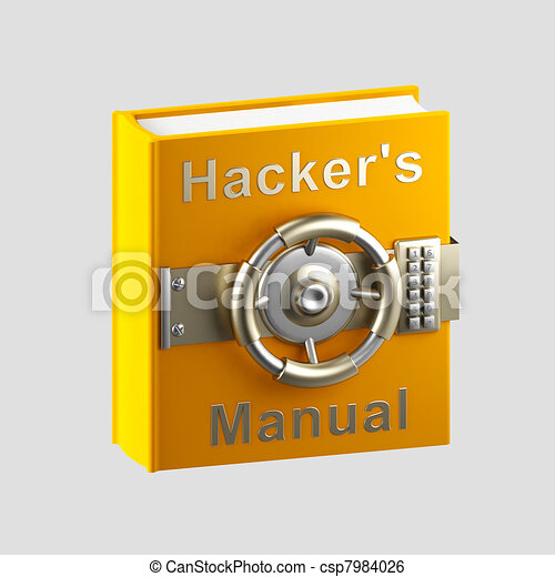 Hacker's manual book vault isolated on grey - csp7984026