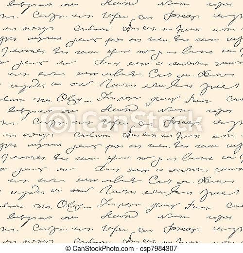 Seamless abstract handwritten text pattern  - csp7984307