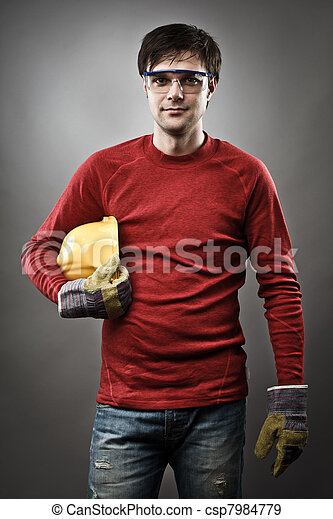 Blue collar worker with hardhat