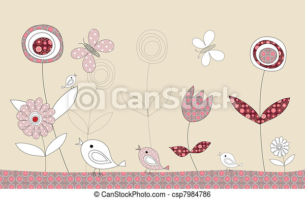 Pretty birds patchwork story, illustration - csp7984786