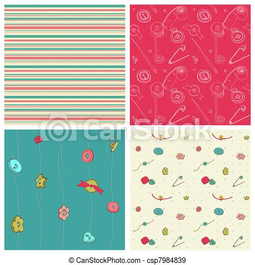 Set of 4 seamless backgrounds - Sewing kit design elements for scrapbooking - csp7984839