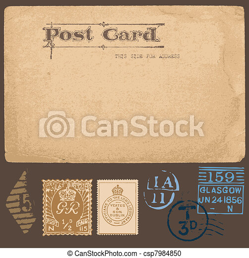 Antique postcards in vector with set of Postal stamps - csp7984850