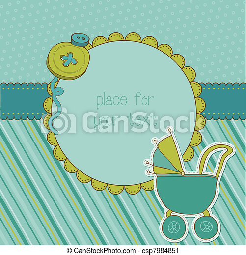 Baby Boy Arrival Card with Photo Frame and place for your text in vector - csp7984851
