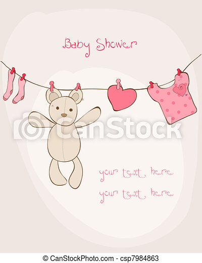 Baby Shower Card with place for your text in vector - csp7984863