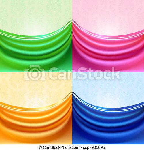 Colored set curtain, silk tissue - csp7985095