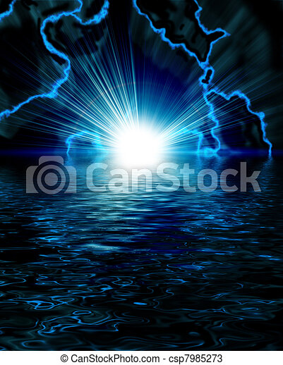 bright blue flash with lightning in the night sky - csp7985273