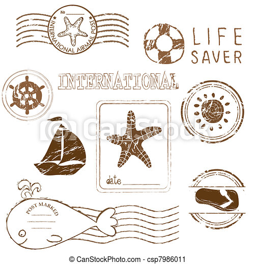 Sea elements - Vector rubber stamp collection - csp7986011