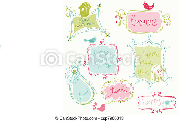 Sweet Doodle Frames with Birds and Bird Houses - csp7986013