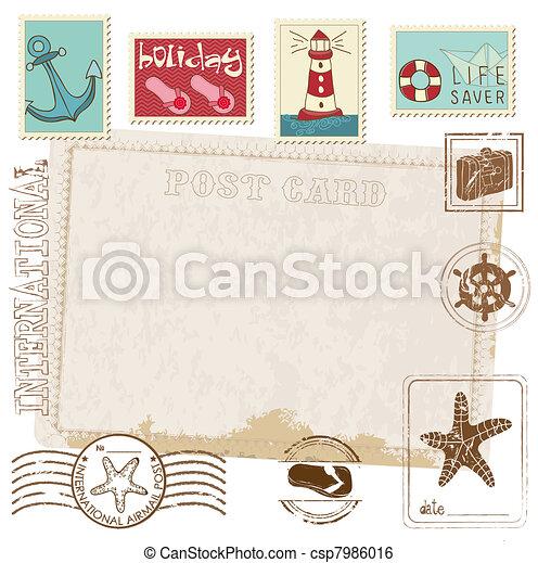 Retro Invitation postcard with SEA stamps - for design and scrapbook - csp7986016
