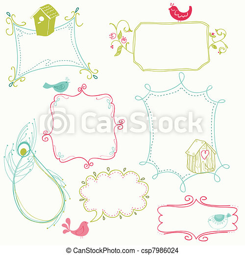 Sweet Doodle Frames with Birds and Bird Houses - csp7986024