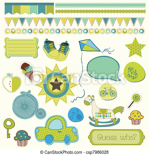 Girly design elements for scrapbooking - csp7986028