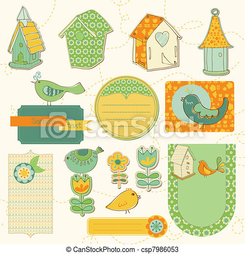 Baby Scrap with Birds and Bird Houses - csp7986053