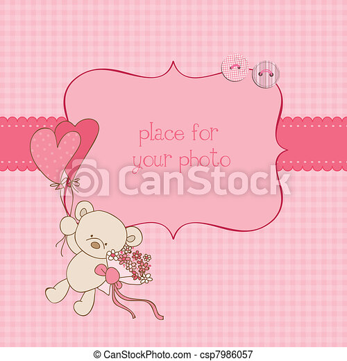 Baby Greeting Card with Photo Frame and place for your text in vector - csp7986057