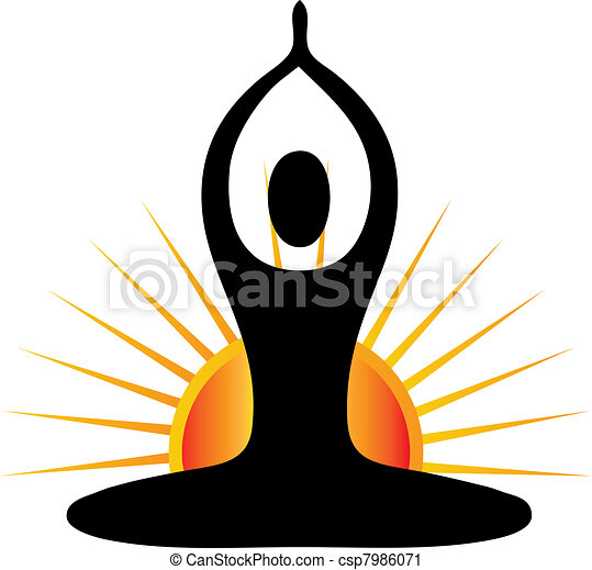 Yoga figure in sunny day  - csp7986071